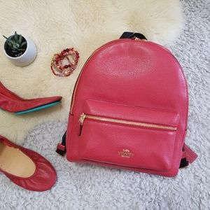 Coach Medium Charlie Backpack Red Gold Leather